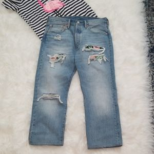 Levi's 501 5 Button High Waisted Cropped Jeans
